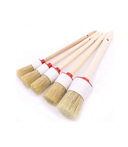 natural boar hair detailing brush set with wood handle