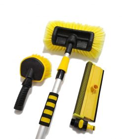 Premium Car Wash Brushes Set with Telescopic Aluminium Handle and 3 Heads Options