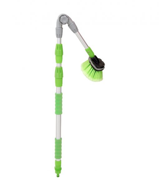 New water flow brush with foldable Aluminium handle for multi-angles, pole dia. 22/26/30mm, telescopic length 92-177cm Brush head 8'', or the other brush heads optional