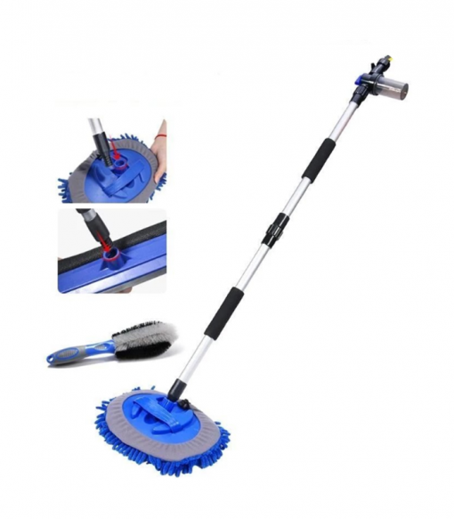 water flow car wash mop brush with multiple heads replace