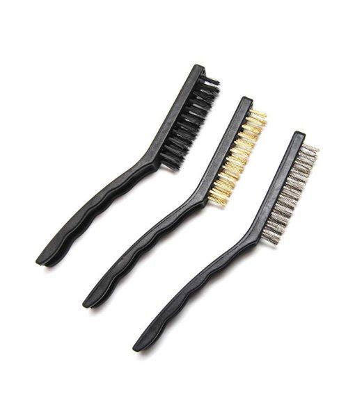 brass, steel, nylon brush set