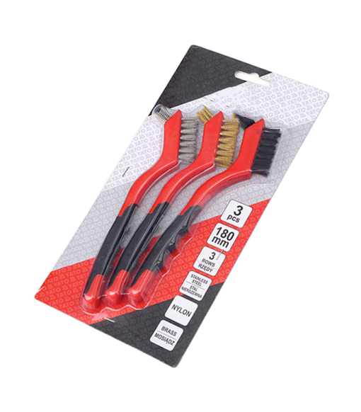 Wire Brush Set 3Pcs - Nylon/Brass/Stainless Steel Bristles with Curved Handle Grip for Rust